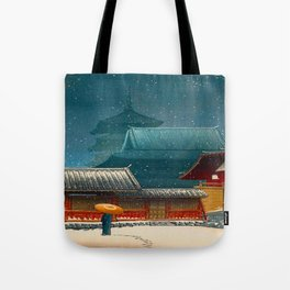 Vintage Japanese Woodblock Print Japanese Red Shinto Shrine Pagoda Winter Snow Tote Bag