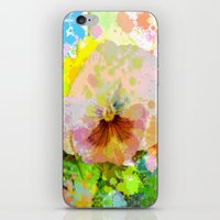 water colour iPhone & iPod Skins featuring Artistic Water colour Pansy by thea walstra