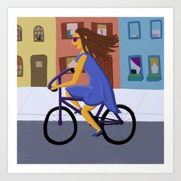 Lady in a Dress on a Bike Art Print