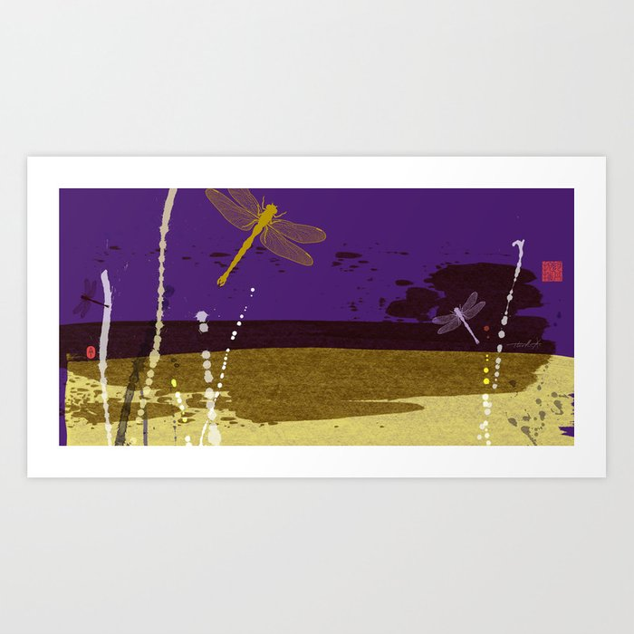 Flying Dragonflies In Purple and Yellow Art Print