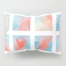 blue pink polygonal Mosaic Pillow Sham