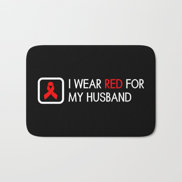 Red Ribbon: Red for my Husband Bath Mat