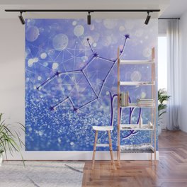 Virgo Zodiac Geometric Glitter Constellation Design Wall Mural