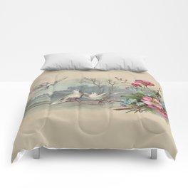 Vintage White Forest Birds Comforters