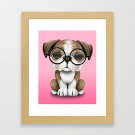 Cute English Bulldog Puppy Wearing Glasses on Pink Framed Art Print