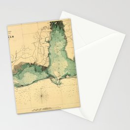 Map Of Mobile 1864 Stationery Cards
