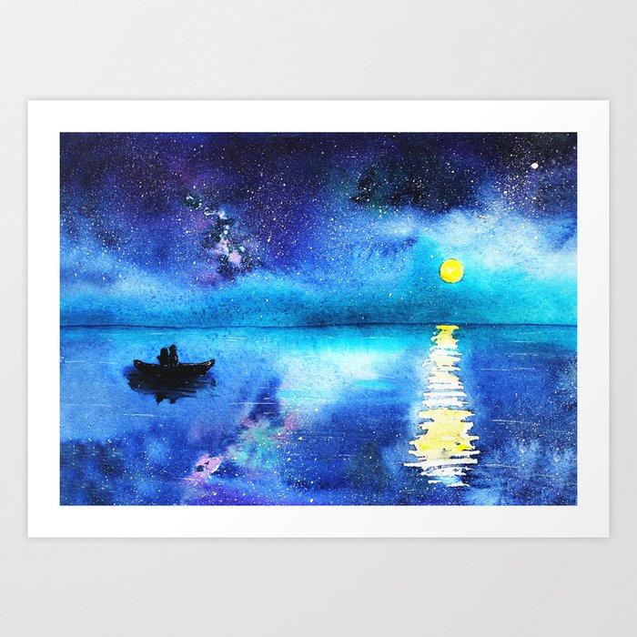 Under the moonlight    watercolor Art Print