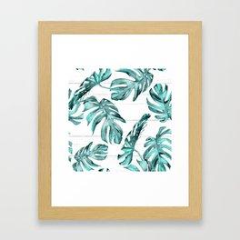 Turquoise Palm Leaves on White Wood Framed Art Print