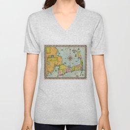 Vintage Map of Cape Cod Unisex V-Neck
