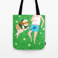 camping Tote Bags featuring CAMPING by dawndawndawnillustration