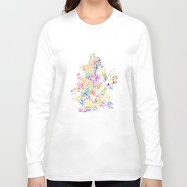 Typographic Brooklyn - Multi Color Watercolor map art Long Sleeve T-shirt
