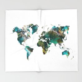 Map of the World tree #map #world Throw Blanket