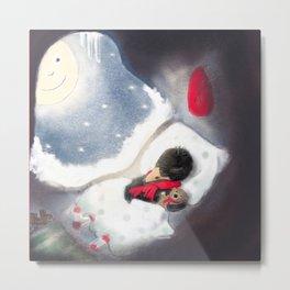 Raven Sleeping With Teddy Bear Metal Print