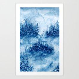 Winter Misty Pines Art Print