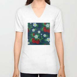 Strawberries and Daisies - Strawberry Patch  - Fruit Unisex V-Neck