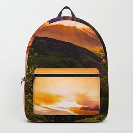 Beautiful Sunset Mountains Valley Landscape Backpack