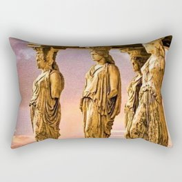 Porch of the Caryatids, Temple of Athena, Acropolis, Greece Portrait Painting Rectangular Pillow