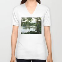 central park V-neck T-shirts featuring Central park by ChaunceyInk