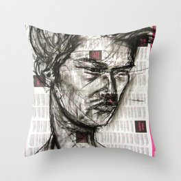 Warrior - Charcoal on Newspaper Figure Drawing Throw Pillow