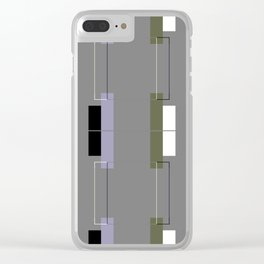 White Hairline Gray Squares Clear iPhone Case