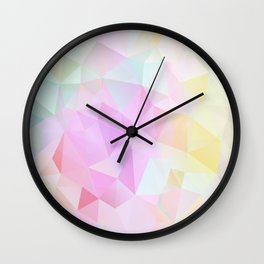 Abstract print of triangles, polygon in pastel colors Wall Clock