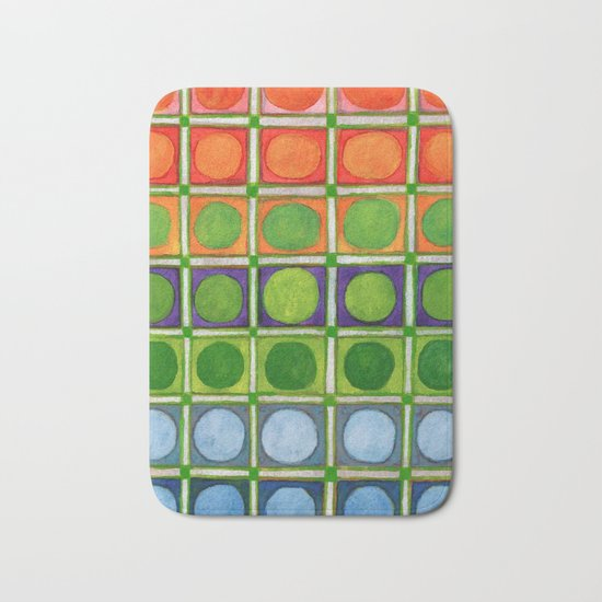 Beautiful Rainbow Colored Circles in a Grid Bath Mat