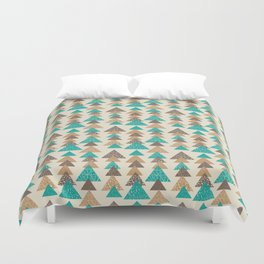 Abstract brown and turquoise pattern of triangels Duvet Cover