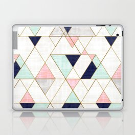 Mod Triangles - Navy Blush Mint Laptop & iPad Skin