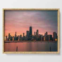 USA Photography - Pink Sunset Over Chicago Serving Tray
