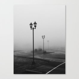 Foggy street lamps Canvas Print