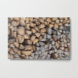 Old and new stacked firewood Metal Print
