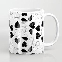 Black and White Patch Boro Embroidery Hearts Coffee Mug