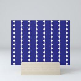 Geometric Droplets Pattern Linked White on Navy Blue Mini Art Print