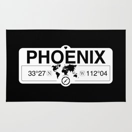 Phoenix Arizona Map GPS Coordinates Artwork with Compass Rug