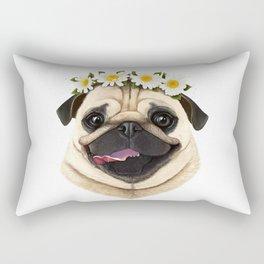 Pug with flowers Rectangular Pillow