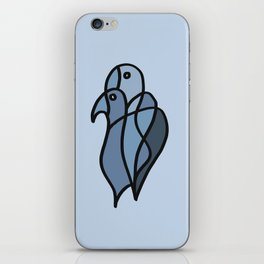 Two Colored Birds in Blue Colors iPhone Skin