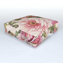 Vintage & Shabby Chic Floral Peony & Lily Flowers Watercolor Pattern Outdoor Floor Cushion