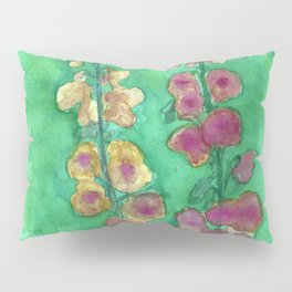 Hollyhock Foxglove Watercolor Honey & Berry on Green Pillow Sham