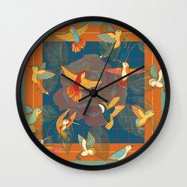 Hummingbirds in Orange Wall Clock