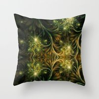 fireflies Throw Pillows featuring Fireflies by Happi Anarky