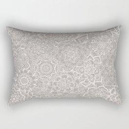 Delicate Lace Mandala Pattern (Grey/Cream) Rectangular Pillow