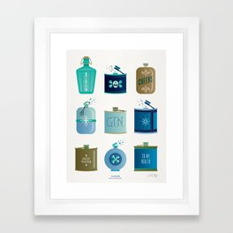 Flask Collection – Blue and Tan Palette Framed Art Print