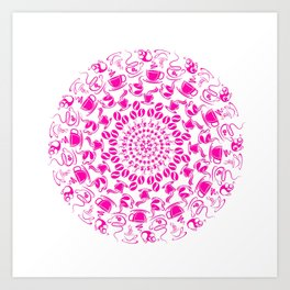 Pink coffee mandala Art Print