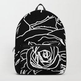 Feminine and Romantic Rose Pattern Line Work Illustration on Black Backpack