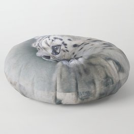Snow Leopard profile Floor Pillow