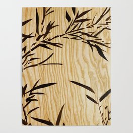 Japanese bamboo buddha wood art Poster