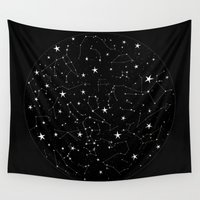 constellations Wall Tapestries featuring Constellations by Rachel Buske