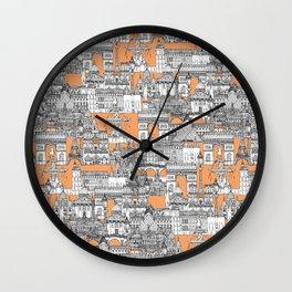 Paris toile cantaloupe Wall Clock