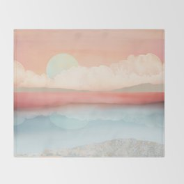 Mint Moon Beach Throw Blanket