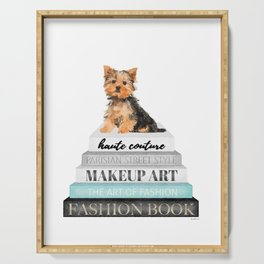 Yorkie, Books, Fashion books, Gray, Teal, Fashion, Fashion art, fashion poster, fashion wall art, Serving Tray